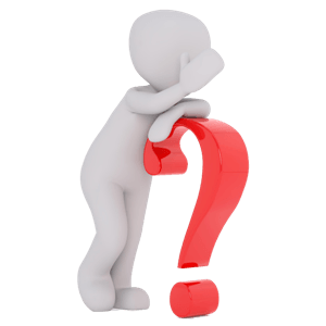a man leaning on a question mark